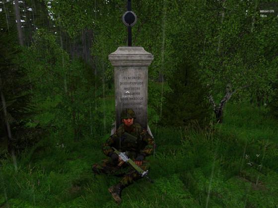 Soldat vor Stein im Regen
