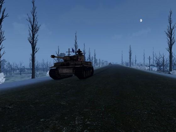 Der Flaggpanzer führt die Gruppe ins Kampfgebiet