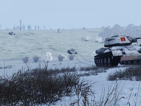 Gruppe aus T-34-76 beim Training vor dem Match